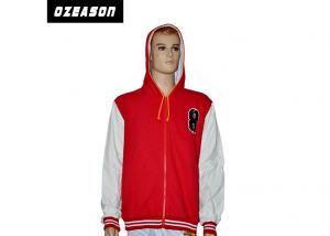 China Windproof Red Printed Zip Up Hoodies?Winter Warm Shrink Resistant OEM Service on sale