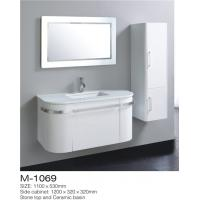 China LED Mirror Wall Hung Bathroom Vanity , White Bathroom Vanity With Side Cabinet on sale