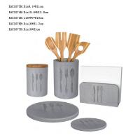 China 5 Pcs Concrete Kitchen Accessories Light Grey Cutlery Holder , Dinner Plates on sale