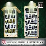 Fashion full Finger nail Black Art Glitter Nail Sticker, Removable DIY Decals