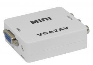 China Mini White VGA To AV Converter With Audio Support High Resolution PC Input Up To SXGA on sale