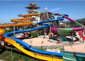 China Water Sports Fiberglass Water Slide , Family Entertainment Giant Pool Slide on sale
