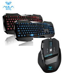 Quality Aula Wired Backlight Gaming Membrane Led Keyboard And Mouse Comfortable Feel for sale