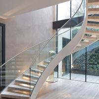 Italian stylish natural oak timber stair unique design wrought iron cuvred rod  balustrade stair  curved staircase