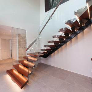 China UK Project Straight Run Led Floating wooden Stairs on sale