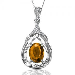 China Solid 18K White Gold Gemstone Jewelry Natural Citrine Diamond Pendant JSHP495CI on sale