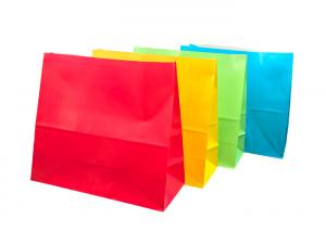 China Colorful Bakery Packaging Bags / Food Grade Paper Bags Customized Size on sale