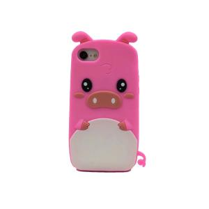 China Pink Pig Huawei Cell Phone Cases With Finger Ring / Apple Iphone Silicone Case on sale
