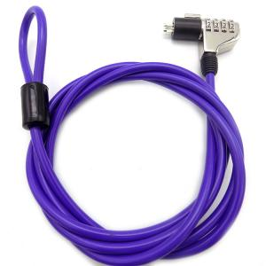 China 4 Digit Password Protection Top Purple Anti-theft Security Computer Lock / Notebook Cable Lock With Key on sale