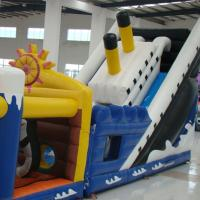 China Colorful Tarpaulin  Inflatable Titanic Obstacle Course with Slide For Outdoor on sale