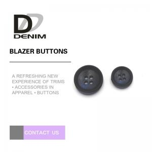 China Navy Blue Black Personalized Blazer Buttons , Custom 4 Hole Plastic Button on sale