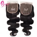 Natural 6x6 Lace Closure Bleached Knots Virgin Hair Extensions / Brazilian Body Wave