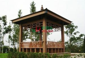 China WPC Asian Style Pre Built Gazebos , Ready Made Gazebo With Back Bench And Decoration on sale