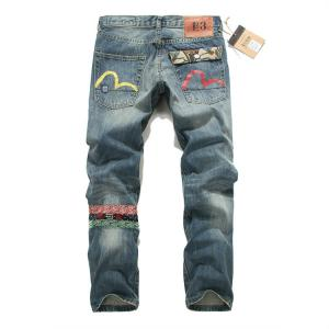 China Wholesale new 2014 EVISU three color small M hole in national fashionable style mens jeans on sale