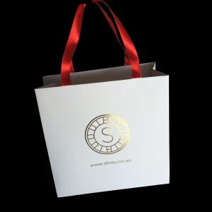 China Holiday Xmas Fancy Handle Paper Shopping Bags , Custom Printed Paper Bags on sale