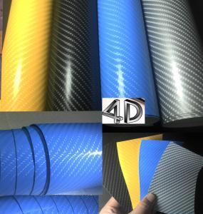 China 4D Glossy carbon fiber vinyl air free auto vehicle wrapping car warp film with air drain 1.52*30m on sale