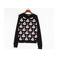 Black Color Xmas Girls Ugly Christmas Sweater Custom Made Santa Claus Pattern