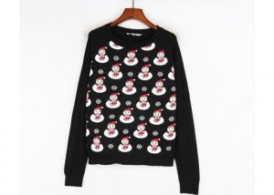 China Black Color Xmas Girls Ugly Christmas Sweater Custom Made Santa Claus Pattern on sale
