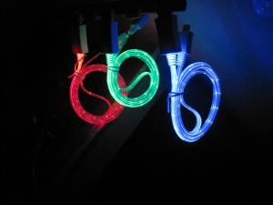 China Micro retractable USB LED Lightning Cable for samsung , red / green / blue on sale