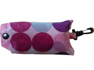 China Pink Dots Nylon Folded Strings Back Bag, Nylon Storage Bags With Buttons Closure on sale