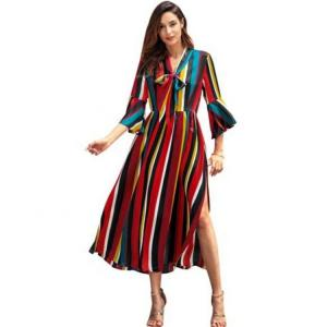 China Rainbow Long Dress Striped Split Midi Casual Dresses Short Sleeve For Spring on sale