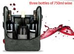 Factory supply Ice insulated nylon wine bottle cooler bag for three wines