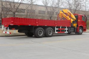 China Red Sinotruk Howo Crane Truck / XCMG Crane 6.3T 8T 10T 12T Heavy Cargo Truck on sale