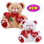 плюшевый медвежонок дня Валентайн 12inch с цветком и заполненными сердцем игрушками нажима для торжества