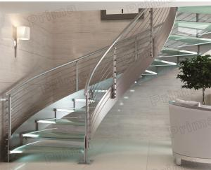 China indoor curved glass stairs / stainless steel round stairs railing / glass curved stairs on sale