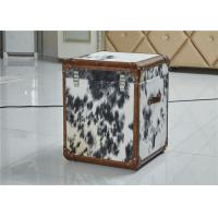 Vintage Style Leather Storage Trunk Cow Leather Fur Material 1 Drawer Top Genuine Handle