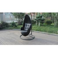 China Stock Discount Rattan Furniture Black Rattan Hanging Swing Chair With Grey Cushion on sale