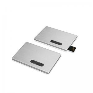 China Aluminum USB Business Card Memory, Push Chip Metal USB Card Drive Engraving Logo on sale