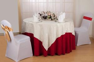 China Red / White / Yellow Hotel Polyester Damask Tablecloth For Party Wrinkle Resisitance on sale