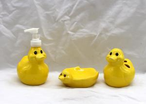China Dolomite Duck Bathroom Set , Ceramic Toothbrush Holder Lotion Dispenser Soap Dish on sale
