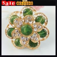 Crystal Rhinestone Brooches Emerald Flower Golden Brooch Vintage Corsage Pin Up Wholesale