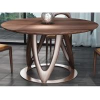 Nordic style Living room Furniture Walnut Wooden Circular Dining table in Special design Legs and Stainless steel plate