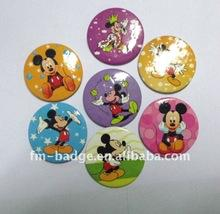 China 4C printing  high quality cute mickey mouse printed tinplate button  badge with pin back on sale