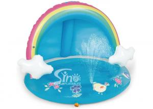 China Outdoor Rainbow Inflatable Splash Pool With Canopy For Kiddie Water Play Mat Toy on sale