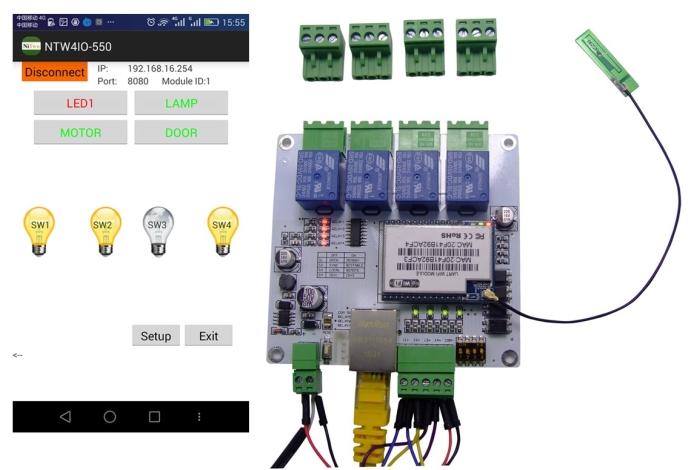 wi fi 4io 4do 4di android phone control network rj45 relay modbus