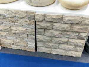 Beige Travertine Mushroom Stone Yellow Stone Wall Cladding Pillar