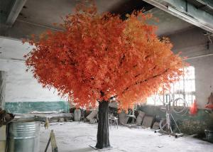 China Bright Faux Autumn Tree 4 Meter Height , Artificial Red Tree Plastic Leaves on sale
