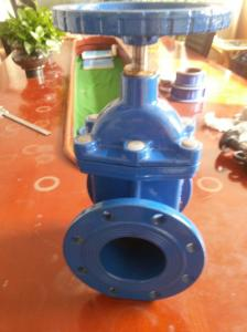 China Cast Iron Non Rising Stem Single Wedge Disc Gate Valve Flanged PN10 / PN16 on sale