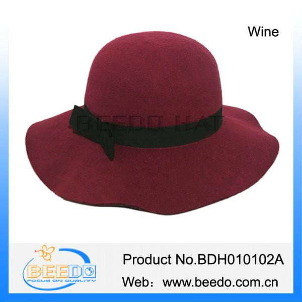 China wholesale wide brim faux wool felt bowler floppy hat womens Images c8030fa1951a