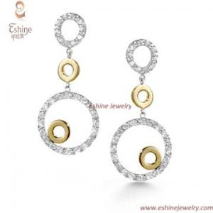 China China factory Hot Sale 925 Silver jewelry danglling round earring with Clear CZ stones on sale