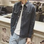 Spring / Autumn Mens Jean Jackets With Two Pockets Button Closure Blue Brown