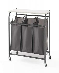 China Metal Three Grid Foldable Laundry Cart , 74cm Length Metal Hamper Basket on sale