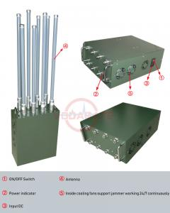 China Manpack Mobile Phone Signal Jammer 6 High Gain FRP Antennas High Output Power on sale