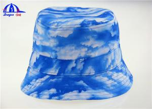 China Sublimation Blue Ladies Printed Bucket Hats / Bucket Caps with 100% Polyester on sale