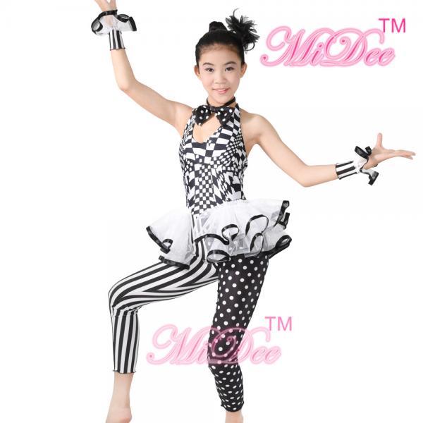 01eae0b23eda Sleeveless Hip Hop Dance Costumes Halter Black / White Print Dance Unitard  Images
