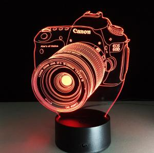 China Canon Camera 7 Colors Change 3D LED Night Light with Remote Control Ideal For Birthday Gifts And Party Decoration on sale